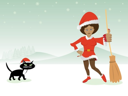 christmas witch in red dress with broom and black cat - illustration Stock Vector - 12453143