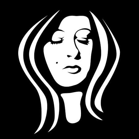 dark face: woman face black and white - illustration Illustration