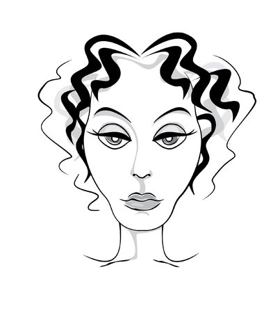 abstract portrait: Mature woman head front ink illustration Illustration