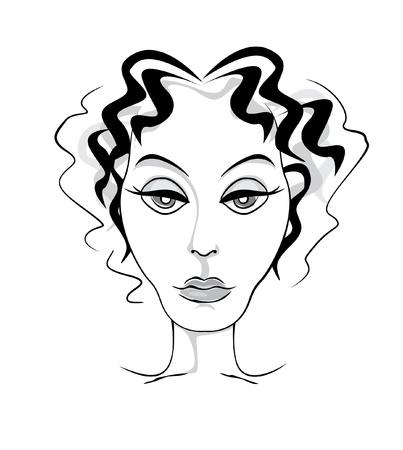 mature woman: Mature woman head front ink illustration Illustration