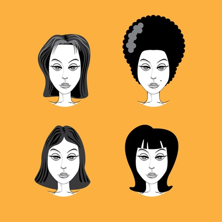 woman hairstyle retro look illustration Stock Vector - 12453276