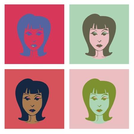 girlie: Woman in pop-art style illustration Illustration
