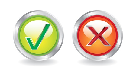 shiny metal buttons yes and no - illustratioo Vector