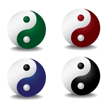 yin y yan: ying yang con la sombra - ilustración