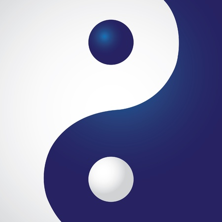 Ying yang in rectangle - illustration Vector