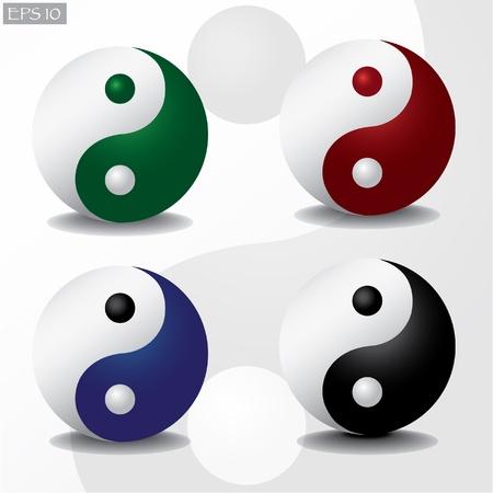 ying yang: ying yang with shadow -  illustration