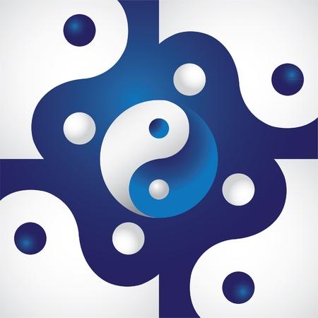 yin y yan: Ying yang en la pantalla abstracto - ilustración Vectores