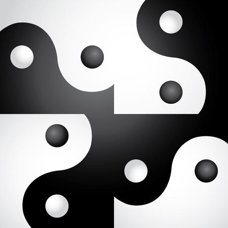 ying yan: Ying yang in abstract screen - illustration