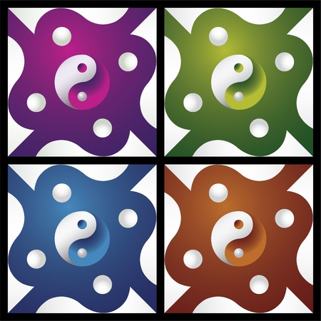 karma design: set of ying yang in abstract screen - illustration