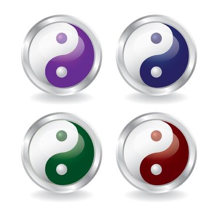 yin y yan: ying yang botones con la sombra - ilustración