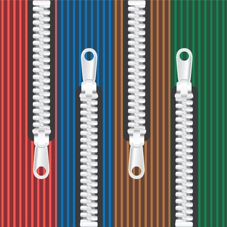 closed zipper on 4 color textile background Vector