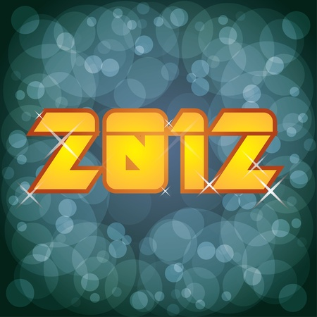 2012 new year logoillustration on abstract background Vector