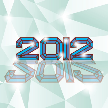 2012 new year on diamand background Vector