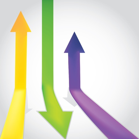 going up: Three colour arrow going up and down - illustration