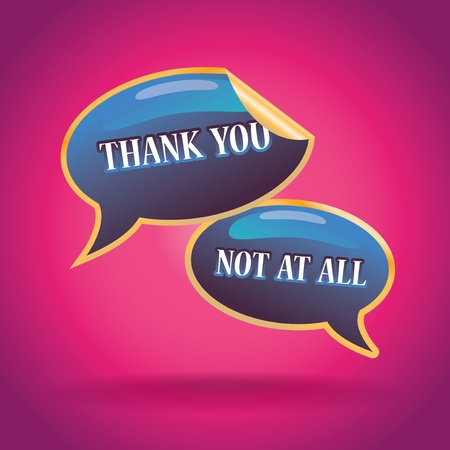 3d  thank you  and   not at all  text bubbles illustration Vector