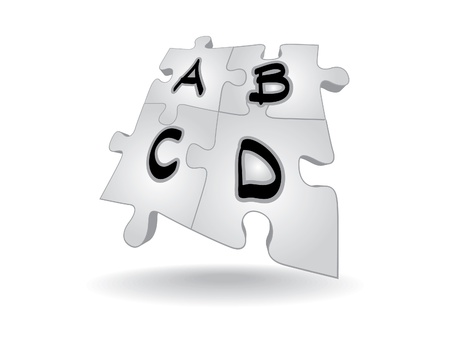 alphabet letters ABCD in puzzle - illustration Vector