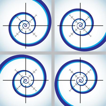 espiral: Conjunto de resumen en forma de cruz - ilustraci�n Vectores