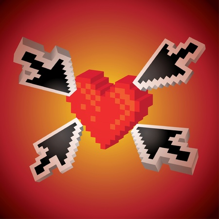 arrows pointing on a heart - illustration Vector