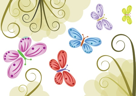 background with color butterflies - illustration Vector