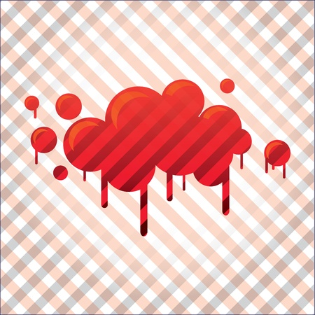 blood stain: bloody spot in stripes background - illustration