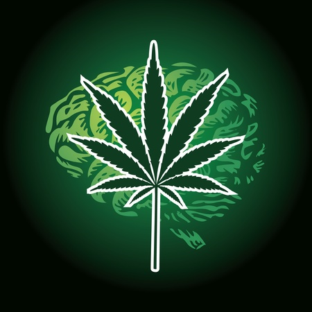 cannabis leaf and human brain background - illustration Illustration