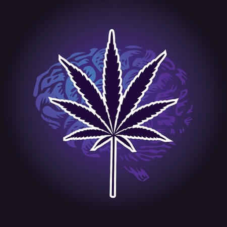 addictive: cannabis leaf and human brain background - illustration Illustration