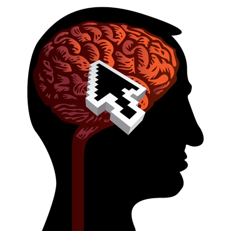 human head with brain isolated illustration Vector