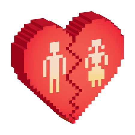 broken heart 3d pixels - illustration Vector