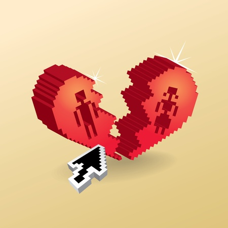 3d pixel broken heart with arrow Vector