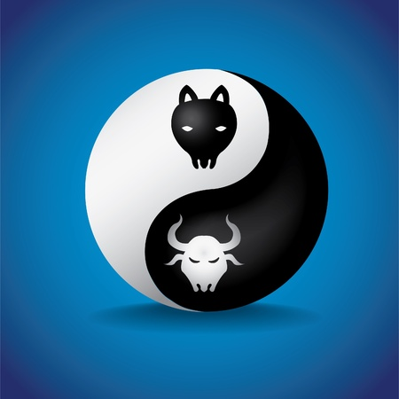 bull and bearin yin yan symbol - illustration Vector
