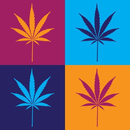 four cannabis leaf illustration in popart
