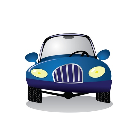 car wheels:   cartoon blue car - illustration