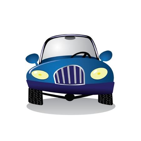 blue smiling:   cartoon blue car - illustration