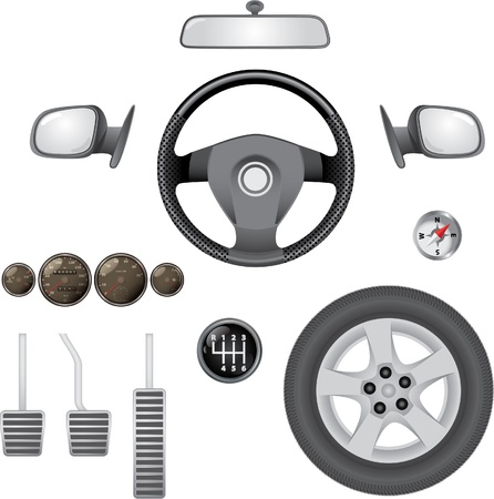 steering: control elements of car - realistic illustration