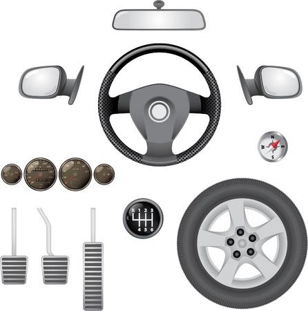 dashboard car: control elements of car - realistic illustration