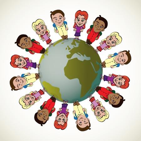kids holding hands: global kids symbolizing unity and peace - illustration Illustration