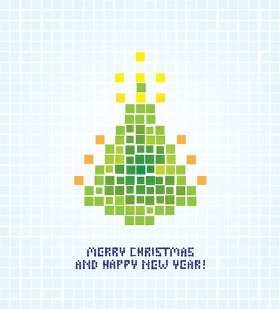 pixel art: isolated abstract pixel christmas tree illustration