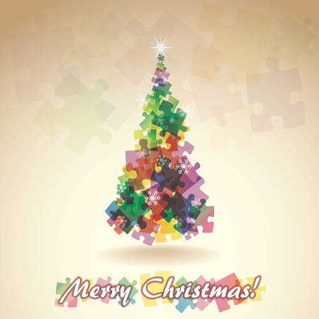 Abstract christmas tree from the pieces of puzzle - illustration Vector