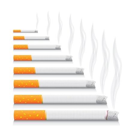 burning money: isolated smoking cigarettes - detailed realistic illustration