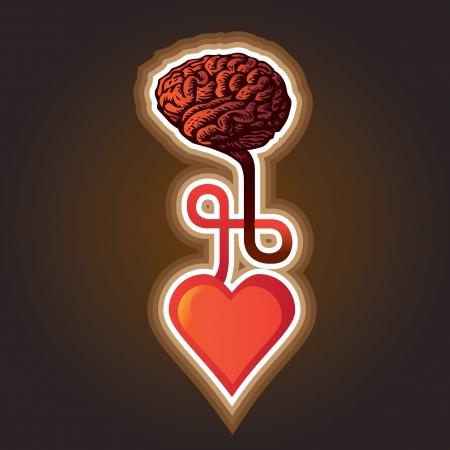 person thinking: conexi�n entre el coraz�n y el cerebro - ilustraci�n