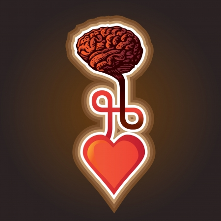 creative thinking: connection between heart and brain - illustration Illustration