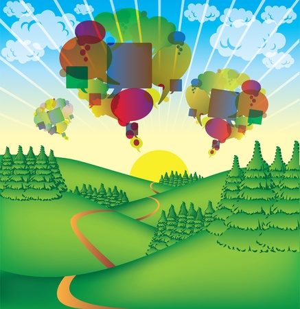 cute countryside illustration with abstract bubbles Vector