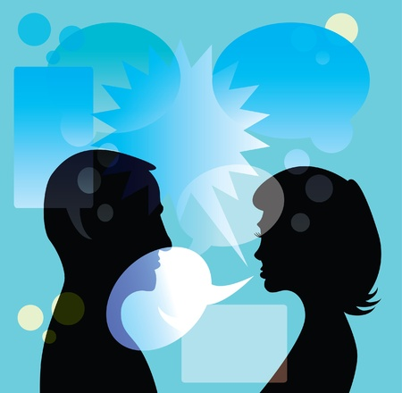 discuss: couple discuss in bubble - abstract illustrationv