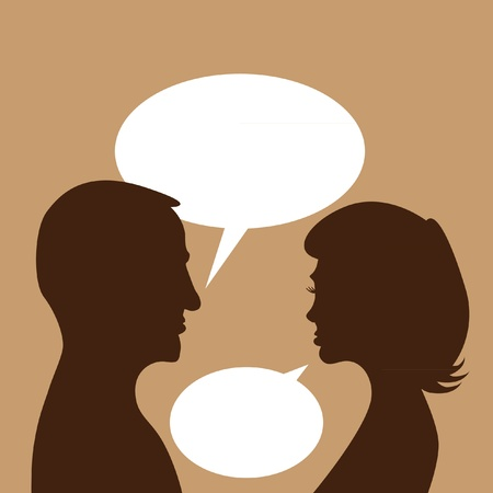 discuss: couple discuss in bubble - abstract illustration