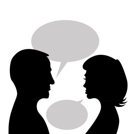 young couple kiss: couple discuss in bubble - abstract illustration