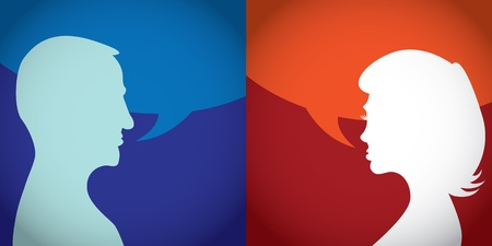 talkative: Silhouette of talking man and woman - illustration
