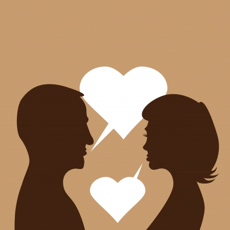 couple in love - silhouette illustration Vector