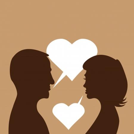 couple in love - silhouette illustration