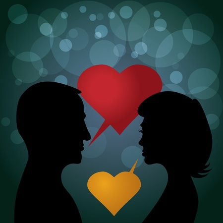 couple in love - silhouette illustration Vector
