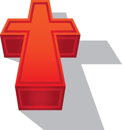 burial: 3d symbol christian cross - illustration Illustration